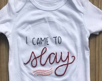 Hand-Embroidered Beyoncé Baby Onesie
