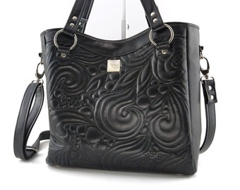 Eleanor Tote Bag. Vegan quilted faux leather purse. Unique black purse with freehand quilting and edgy hardware for alternative fashion.