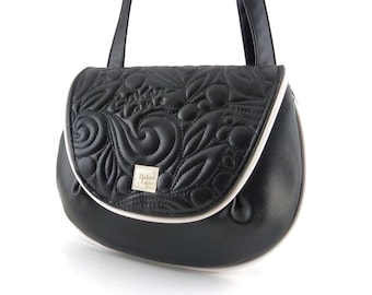 Victoria Saddlebag. Vegan Faux leather crossbody purse. Unique black purse with freehand quilting and edgy hardware for alternative fashion