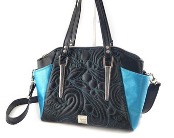 Serena Shoulder Bag. Vegan quilted faux leather crossbody purse. Unique black purse with freeform quilting and hardware for alternative look