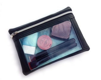 I-spy quilted faux leather pouch. Vegan unique black accessory pouch with freeform quilting and clear vinyl window.