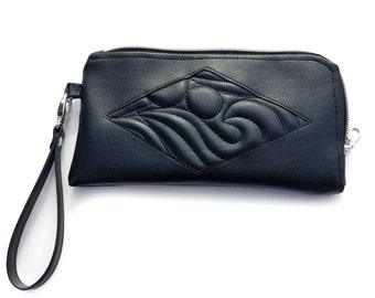 Marquise Wristlet. Vegan quilted faux leather wristlet with card slots. Black purse with free motion quilting for unique fashion.