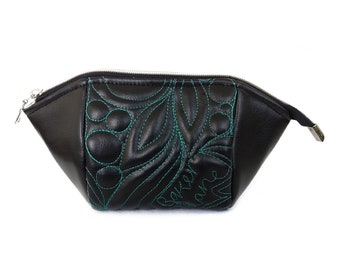 Tulip pouch, quilted faux leather. Vegan, unique black pouch with freehand quilting.
