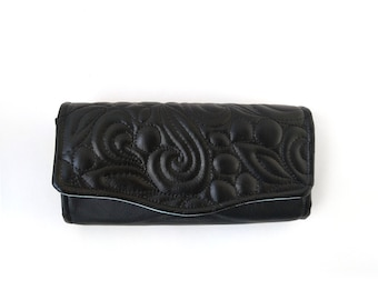 Hawthorn Wallet,  Quilted black faux leather accordion wallet with divided sections, Envelope wallet for budgeting, Wristlet strap available