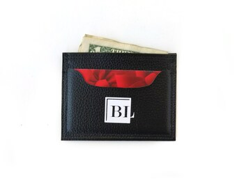 Birch Mini Card Holder, Slim card case for credit and business cards, Minimalist cash wallet made of faux leather,  Black money clip wallet