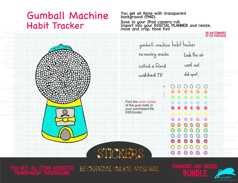 Gumball machine habit tracker  GoodNotes  Digital Planner  image 0