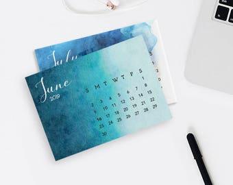 2019 Blue Watercolor Desk Calendar- Printable desktop calendar- digital 6x9