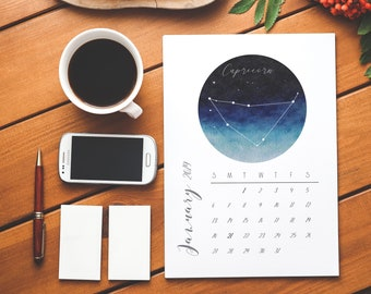 2019 Watercolor Zodiac Desk Calendar- Printable Calendar - Star Signs