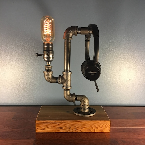 Headphone Stand Industrial Desk Accessories Industrial Decor Industrial Lamp Steampunk Lamp Bedside Lamp Gothic Home Decor