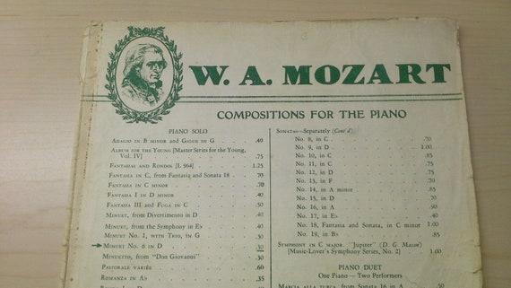 W A  Mozart Compositions for the Piano Sheet Music, Minuet No  6, 1908  Sheet Music, G  Schirmer, Inc