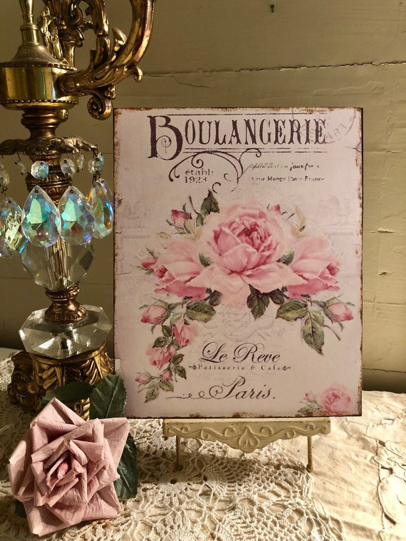 Paris Shabby Chic Plaque Bible Verse Bluebird Roses Handcrafted Sign