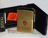 Vintage Zippo lighter (Sir Walter Raleigh Tobacco) 1994 SOLID BRASS Rare New In Box