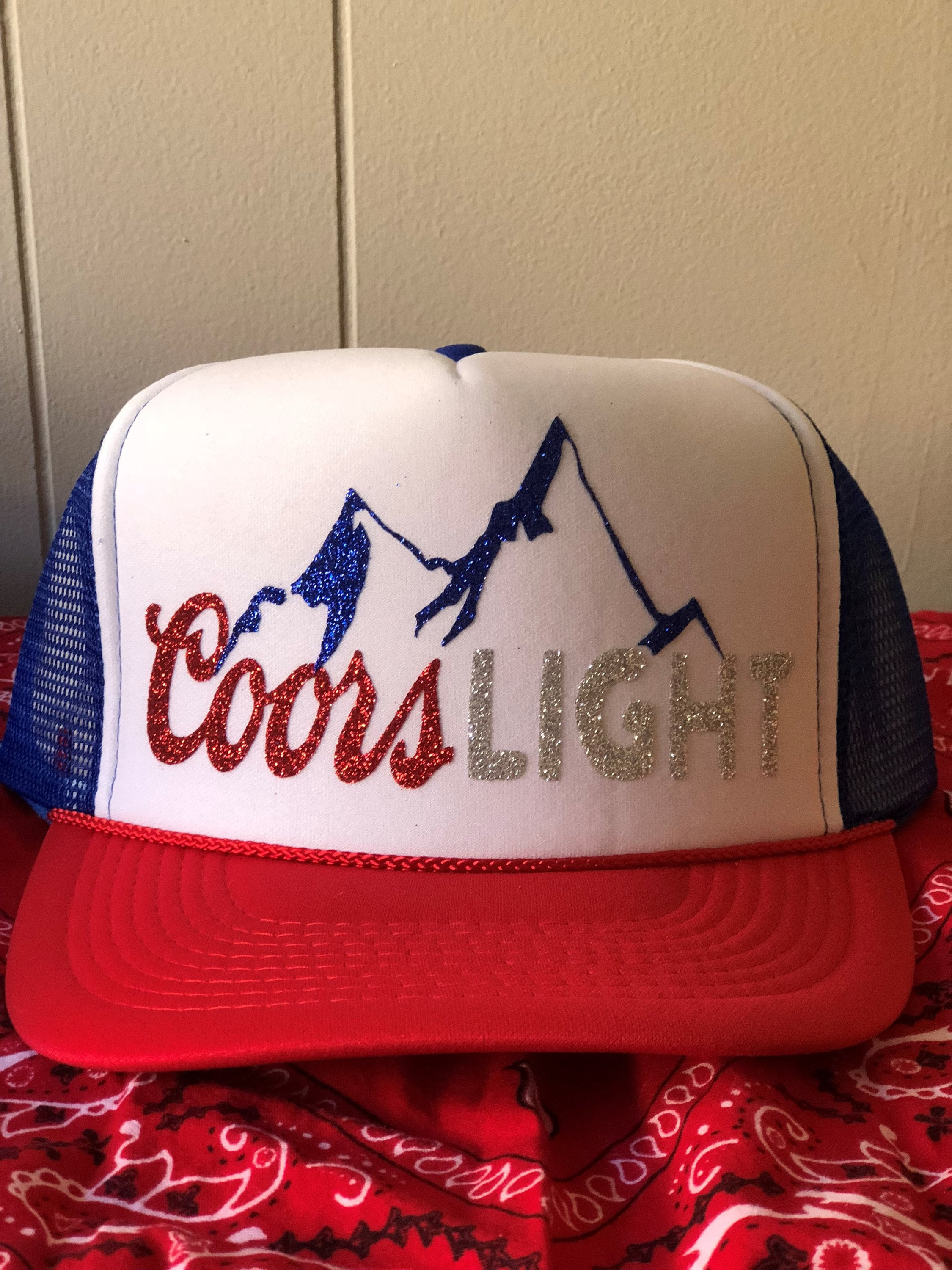 Red White and Blue Beer Fourth Of July Hat   Custom Trucker  ec1cf1107c9