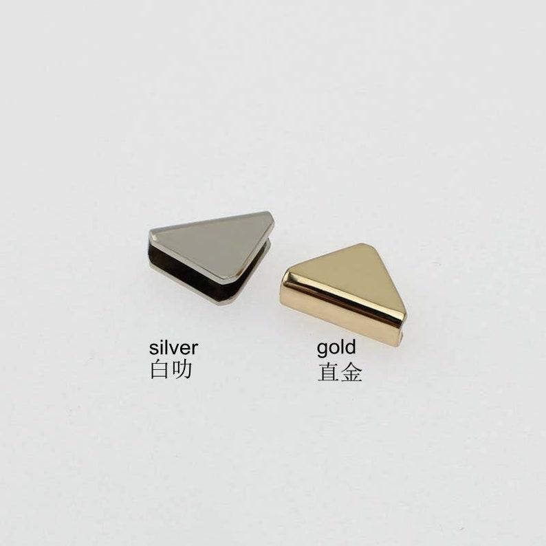 10-50 pieces,4 colors 21*15*15mm purse strap small triangle decorative end cap,bag flip decoration metal