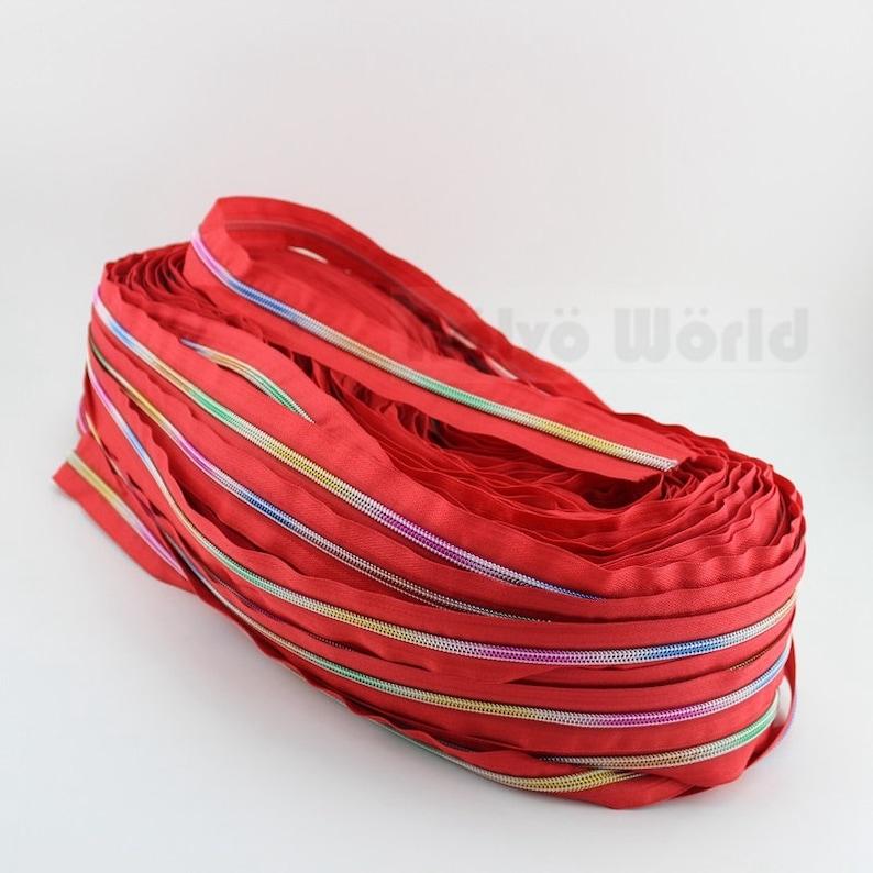 10Yards 7 Nice Colors 5# rainbow nylon teeth zipper,10 pieces 5# rainbow nylon coil zipper slider pullers