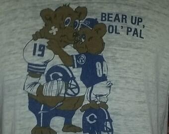 Vintage 1984 Chicago Bears NFL Football Thrashed Burnout Thin BeAR uP oL PaL 80s Sports ringer t shirt 42 Large