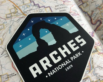 Arches National Park:  Starry Night -Vinyl Sticker
