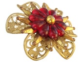 Antique Celluloid Red Bloom Brooch - Vintage Costume Jewelry large Big Bold Faux Filigree Flower floral Daisy Clear Painted Gold Victorian