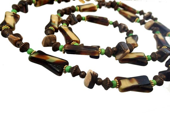 Vintage Sandra David gold and satin beaded necklace