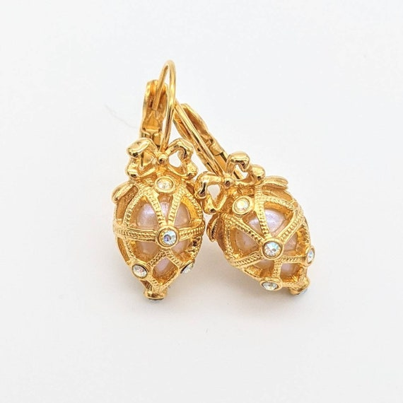 Joan Rivers Faberge Egg earrings - signed gold ton