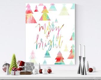 modern christmas decor merry bright printable wall art colorful festive xmas print - Modern Christmas Decor
