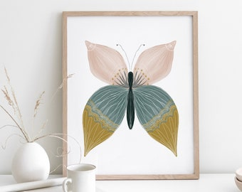 Boho Butterfly Print, Butterfly Wall Art, Boho Girl's Nursery, Boho Decor, Exclusive Design, Hand Painted Butterfly Poster, Play Room Decor
