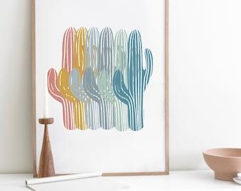 Saguaro Cactus Decor, Cactus Print Instant Download, Printable Cactus Art, Sky Blue, Grey, Mint Green, Sienna, Cactus Gifts, Desert Wall Art
