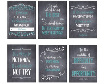 Set of 6 Growth Mindset Posters for Classroom Decor   Printable Chalkboard Quotes, Farmhouse Style
