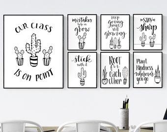 Cactus Classroom Decor, Growth Mindset Printables, Classroom Posters, Instant Download, Teacher Gift, Personal Development, Cactus Decor