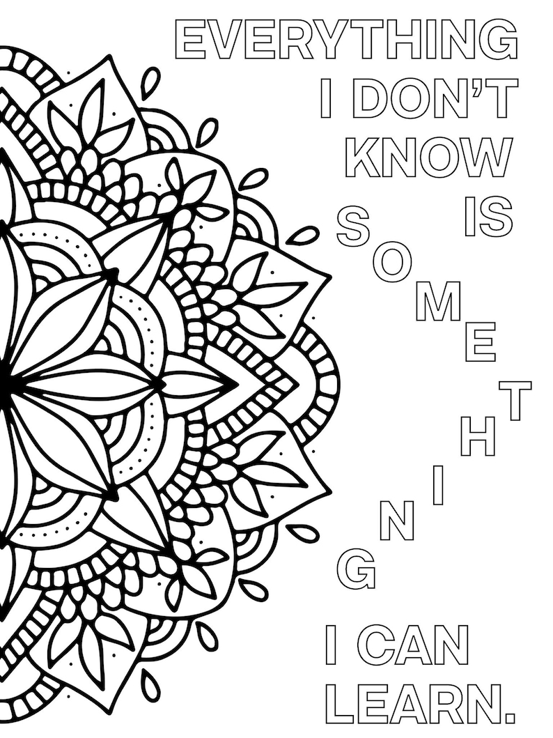Growth Mindset Coloring Pages Printable Mandala Positive ...