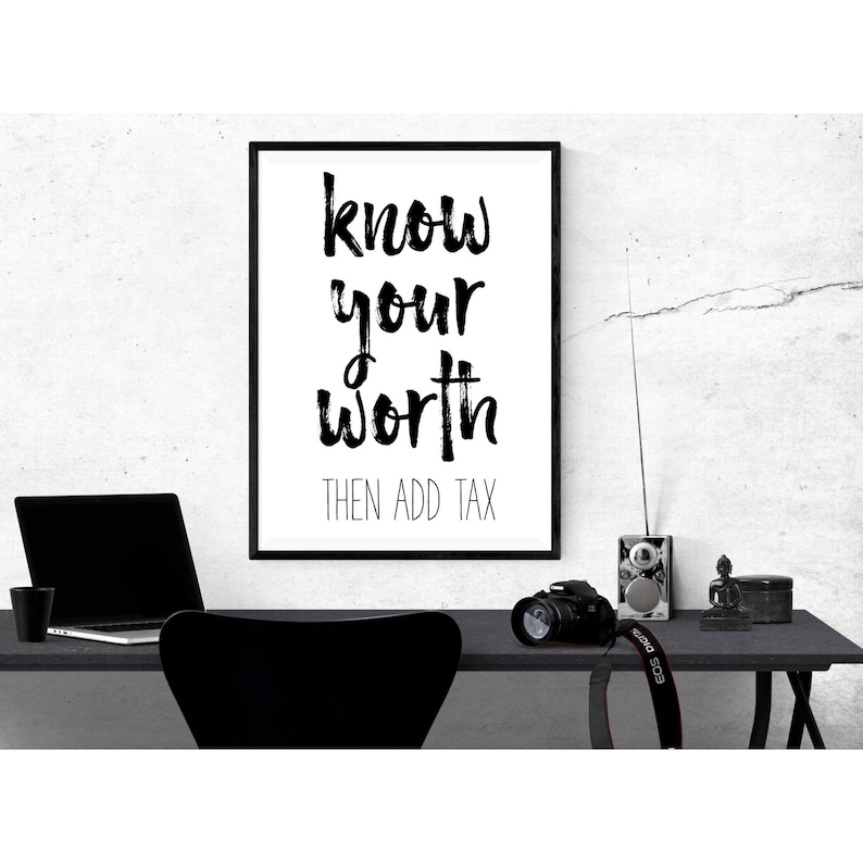 Know Your Worth Motivational Poster Printable Wall Art Quote image 0