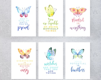 Growth Mindset Printable Posters, Classroom Decor, Butterfly Theme, Watercolor, Teacher Art, Set of 6, Ombre, Encouragement, Empowering Art