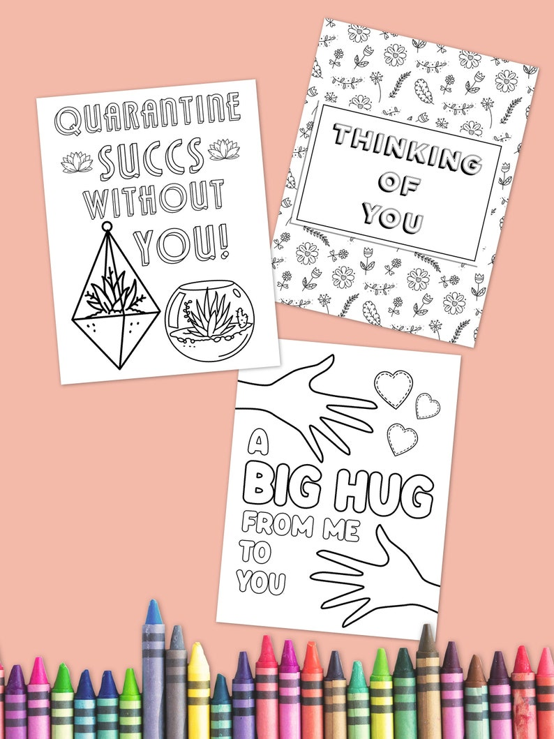 Digital Coloring Pages Quarantine Gifts Thinking of You image 0