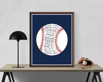 The Sandlot Quote Print Navy Blue, Baseball  Decor, Baseball Art, Baseball Prints, Printable Wall Art, Baseball Gifts, Inspirational Quote