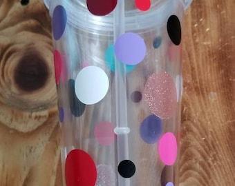 Multicolor polka dot tumbler
