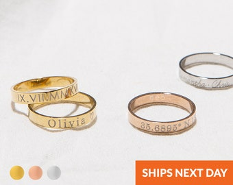 Personalized Stacking Ring Custom Engraved Name Coordinate Initial Ring Stackable Gold Ring Mothers Jewelry Gift For Her Name Jewelry