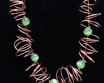 Swirl Necklace with Cats Eye Beads