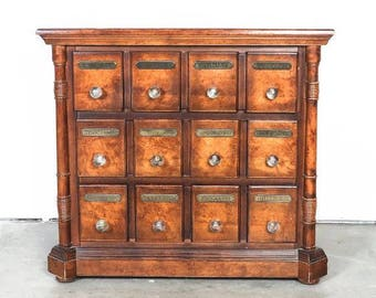 Vintage Antique Style Walnut Apothecary Cabinet