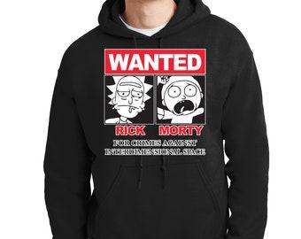 Rick and Morty Wanted Hoodie Cartoon Network Supreme Funny Sweatshirt