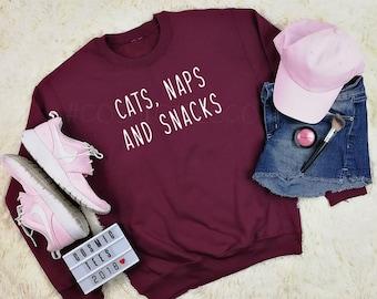 cats naps and snacks sweatshirt, cat hoodie, cat sweater, nap sweatshirt, lazy queen, nap queen, tumblr sweatshirt, tumblr hoodie, hipster