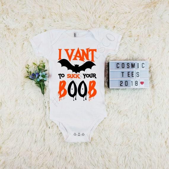 Halloween Baby Clothing I Vant To Suck Your Boob Baby Grow Sleep Suit