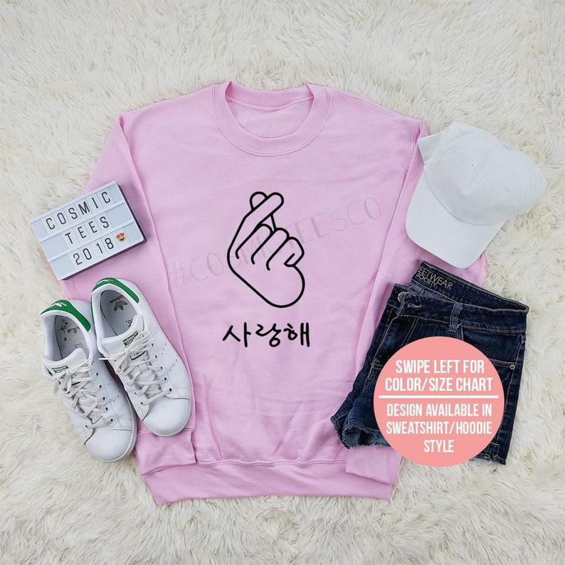 cb9d663c3 Korean finger heart sweatshirt saranghae finger heart i love
