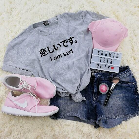Je suis triste chemise japonaise, je suis triste, chemise tumblr, grunge, emo, geek, harajuku, esthétique, kawaii, chemise hipster, chemise instagram,