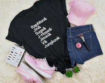 bts names shirt, BTS shirt, rapmonster, jin, suga, jhope, jimin, v, jungkook, bts army, bts merch, bangtan boys, kpop t-shirt, k-pop shirt