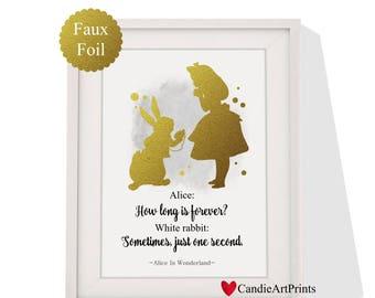 Disney Alice in wonderland Faux Gold art print Instant Download