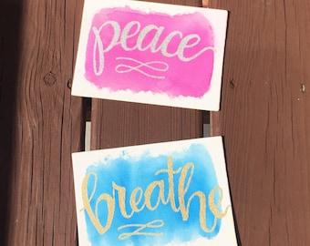 Watercolor Word Canvas