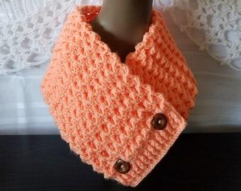 Malanda's 3D Cowl | Crochet | Handmade | Cowl | Scarf | Winter Wear | Peach | Classy | Ribbed | Textured | Elegant