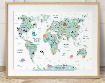 Map wall art etsy world map poster nursery decor travel map world map canvas baby gift world map wall art kids room decor printable nursery wall art gumiabroncs Image collections
