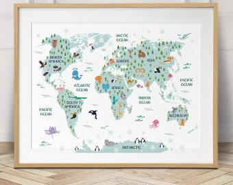 Kids world map print etsy world map poster nursery decor travel map world map canvas baby gift gumiabroncs Image collections