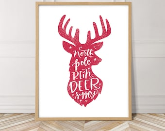 e88c9610 Reindeer print, printable christmas wall art, holiday decor print